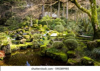 Beautiful zen garden in Zansen-in Buddhist Temple. Kyoto, Japan.