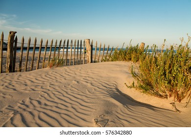 beautiful zen sandy beach in sunset blue sky with vegetation and wooden fence, hendaye, basque country, france