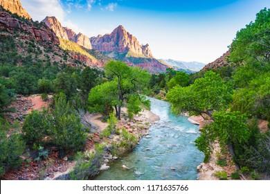beautiful Zion national park on sunny day,utah,usa.