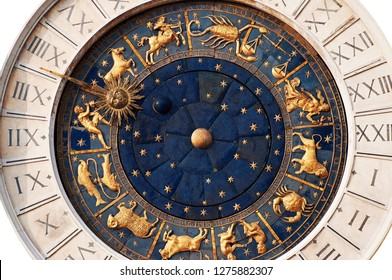 Beautiful zodiac clock at the Piazza San Marco (St. Marks Square) in Venice, Italy. The clock has been isolated on white background.