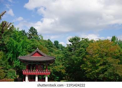 BeautifulBeautiful Korean pavilion with blue sky and clouds. Colorful Korean pavilion with blue sky with tree . Colorful Korean pavilion with blue sky
