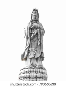 Beautiful,Guanyin statue isolated on white background