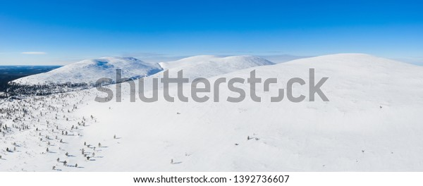 Beautifull bird's eye view to four tops of Pallastunturi fell on Pallas-Yllastunturi national park, Lapland Finland