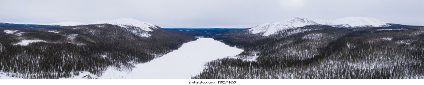 Beautifull bird's eye view to Lainiotunturi, Kesanki, Kellostapuli, Keskinenlaki and Yllas fells and Kesanki lake on Pallas-Yllastunturi national park, Lapland Finland.