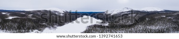 Beautifull bird's eye view to Lainiotunturi, Kesanki, Kellostapuli, Keskinenlaki and Yllas fells and Kesanki lake on Pallas-Yllastunturi national park, Lapland Finland.