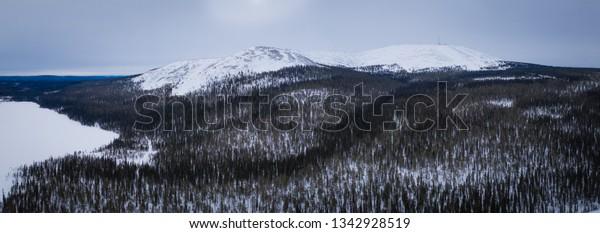 Beautifull bird's eye view to Pallas-Yllastunturi national park on Yllastunturi fell, Lapland Finland