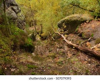 beautifull colorfull autumn in bohemian paradise in czech republic