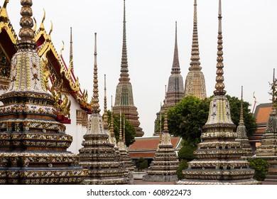 Beautifull decorated stupas and pagoda in Wat Pho temple, Bangkok. Thailand