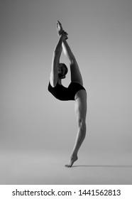 Beautifull flexible blonde girl posing. Gymnastics.