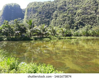 beautifull landscape location rammang rammang karst in South Sulawesi, Indonesia, Hills, river and karst are good combination to enjoying your eyes. Travelling outdoor, holiday moment