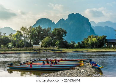 Beautifull landscape on the Nam Song River in Vang Vieng, Laos.