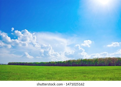 beautifull landscape with sun, sky, clouds and meadow