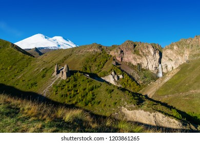"Beautifull landscape view of ""Dragon teeth"" - natural rocks at Caucasus mountains near mount Elbrus - the highest mountain in Europe"