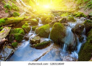 beautifull small river rushing through the mountain canyon