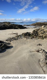 Beautifull spring day at Traigh Beach in Arisaig with a view towards the Isles of Eigg and Rum.