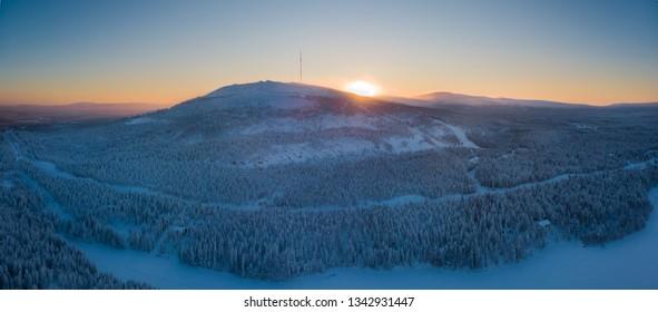 Beautifull sunset on Pyhatunturi fell at Pyha-Luosto national park, Lapland Finland