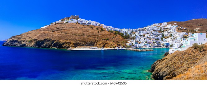 beautifull traditional islands of Greece - Astypalea island with white houses and turquoise sea