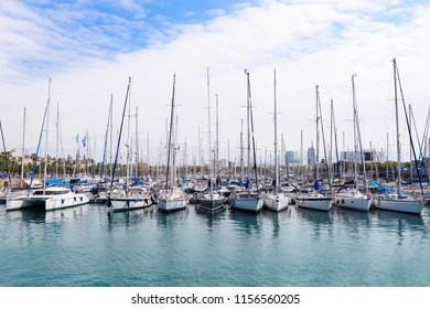 Beautifull view of yachts parking, Barselona, Spain