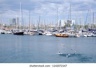 Beautifull view of yachts parking in harbor, Barselona, Spain