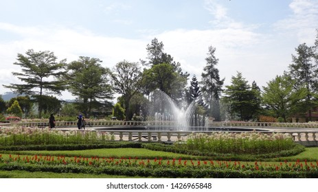 Beautifull water fountain in the park, people come to this place every weekend to relaxing. photo taken at nusantara flower garden , cisarua, indonesia in june 2019