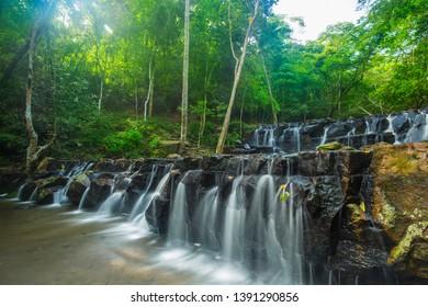 Beautifull waterfall in deep forest . Waterfall in Namtok Samlan National Park, Saraburi, Thailand