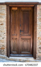 Beautifully carved old wooden front door