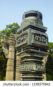 Beautifully carved pillar, Partial view of portal, Enterance gateway Toranas, Temple complex, Warangal Fort, Warangal, Telangana, India