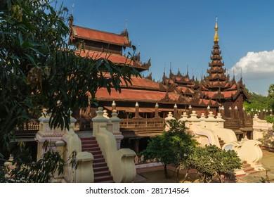 The beautifully carved teak monastery Shwe In Bin Kyaung  in Mandalay