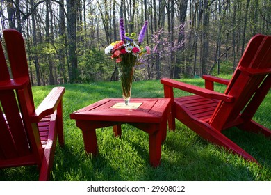 beautifully colored backyard furniture