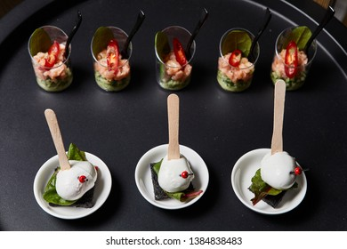 Beautifully decorated catering banquet table with snack canape in restaurant or hotel. catering service bisiness waiter buffet food set in event celebratoin corporate birthday kids party or wedding