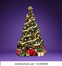 Beautifully decorated christmas tree with lights, ribbons and ornaments shot on a rich violet background with copy space