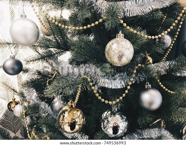 Beautifully Decorated Christmas Tree Silver Gold Stock Photo Edit