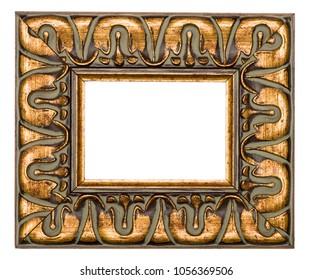 Beautifully decorated Golden frame for paintings isolated on white background.
