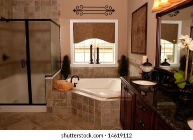 A beautifully decorated interior of a bathroom