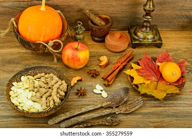 Beautifully Decorated: Pumpkin, Apple, Cinnamon. Studio Photo