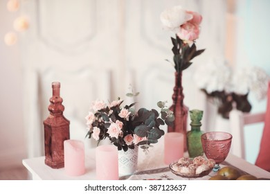 Beautifully decorated table adorned with multicolored flowers