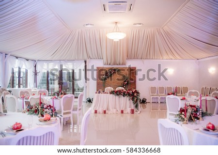 Beautifully Decorated Wedding Hall White Red Stock Photo Edit Now
