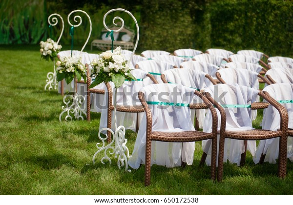 Beautifully Decorated Wedding Reception Outdoors Wedding Stock