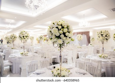 Beautifully decorated in white colours wedding hall