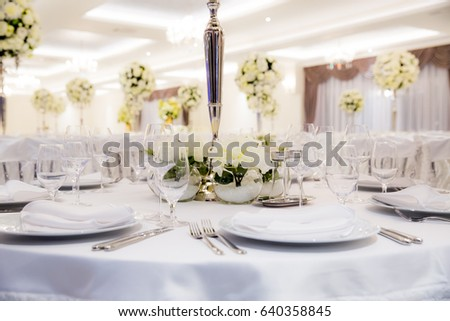 Beautifully Decorated White Colours Wedding Hall Stock Photo Edit