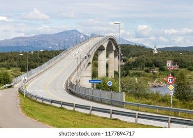 Beautifully designed bridge over famous Saltstraumen fjord and dangerous vortex near Bodo, northern Norway