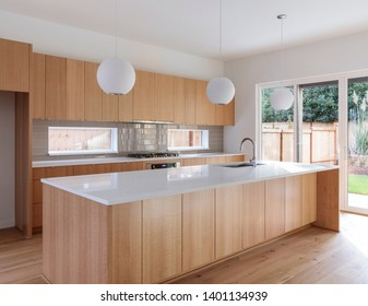 Beautifully designed modern kitchen with wooden features