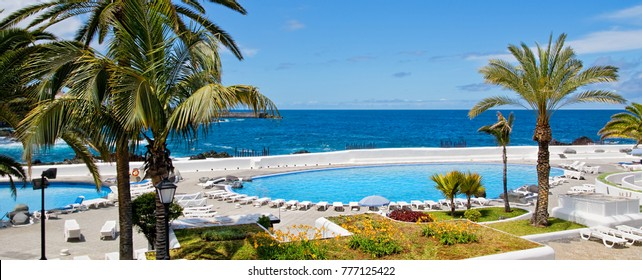 Beautifully designed saltwater pools Lago Martianez in Puerto de la Cruz, Tenerife, Canary Islands.