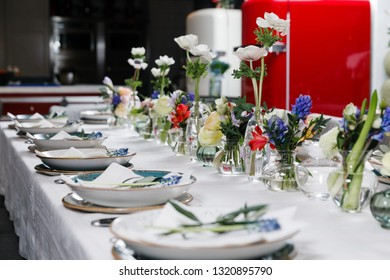 Beautifully laid table, decorated with flowers