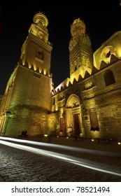 Beautifully lit Islamic Cairo at night