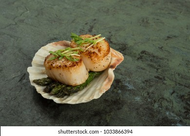 Beautifully prepared Scallops served with asparagus in a shell on slate