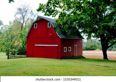 Beautifully preserved old red barn of historical significance in Central Illinois.