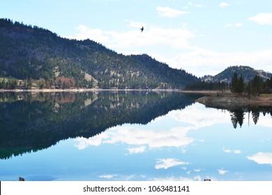 Beautifully Reflective Wannacut Lake in Oroville Washington - Okanogan County