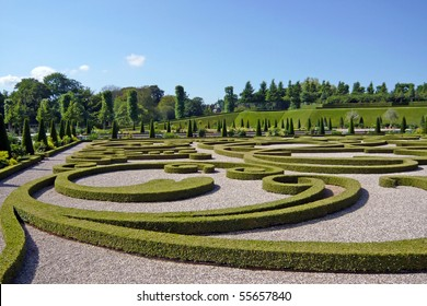 Beautifully sculptured castle garden in Denmark