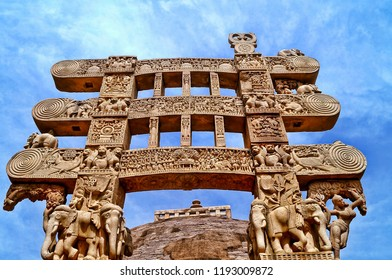 Beautifully sculptured wall column at Sanchi, India